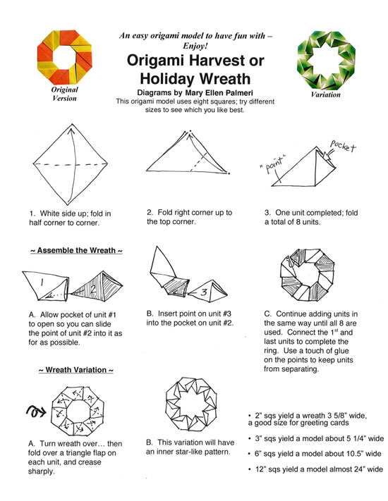 Enjoyable Monthly Feature Origami Page Origami Harvest Or Holiday Wreath Wiring 101 Mecadwellnesstrialsorg