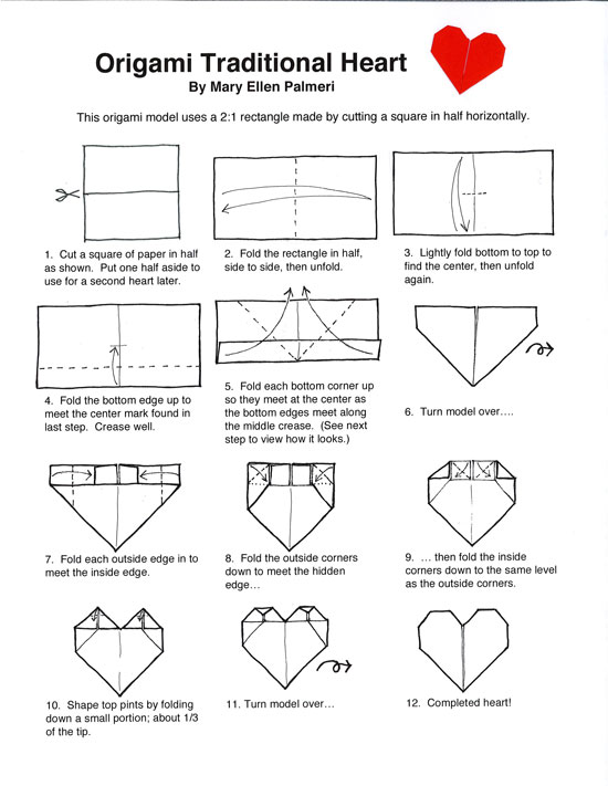 Origami Heart Instructions from Origami (Paper Folding) category ... | 711x550
