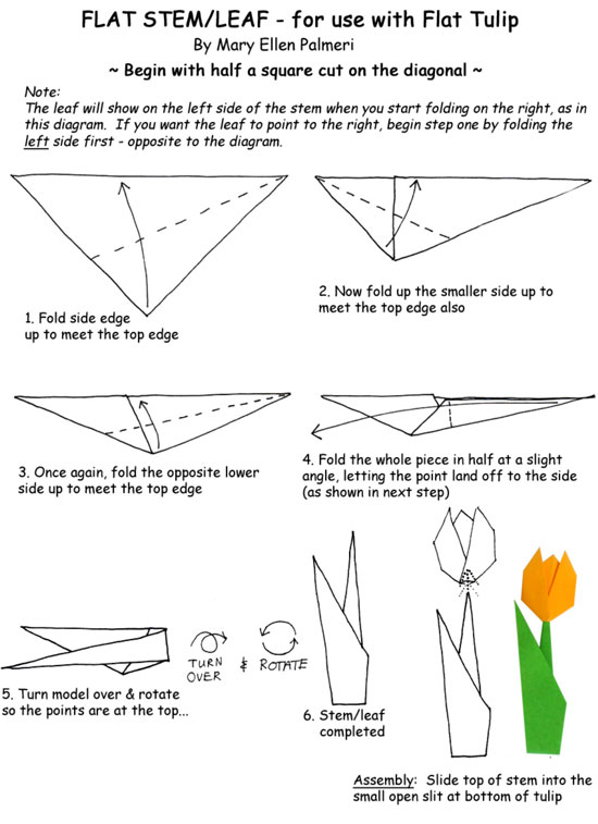 May 2016 Monthly Feature Origami Page Flat Tulip