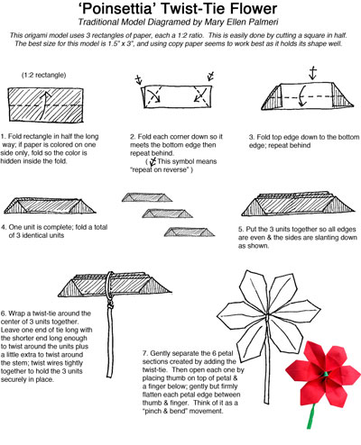 December 2016 Monthly Feature Origami Page Origami Poinsettia