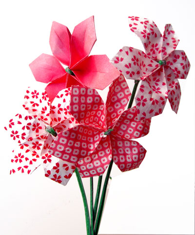 Pink paper plant in pot origami poinsettia faux flowers | Etsy | 483x400