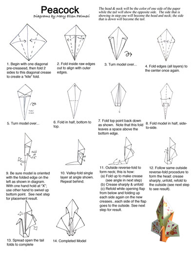 april 2017 monthly feature origami page peacock rh tucsonhappenings com Origami Peacock Step by Step 3d origami peacock diagram