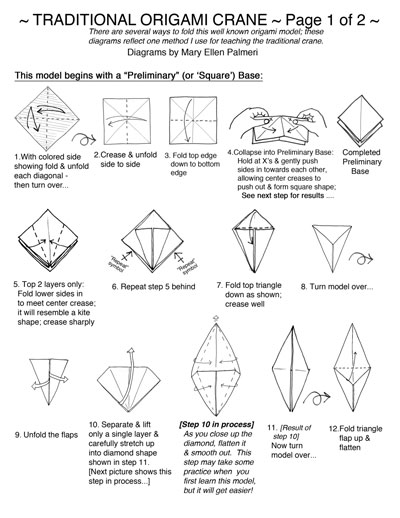 How to fold an origami crane. A fun activity for kids. illustrated ... | 518x400